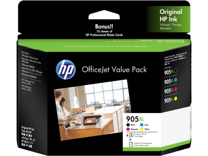 HP 905XL Office Value Pack-10 sht/4 x 6 in
