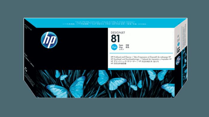 HP 81 Cyan DesignJet Dye Printhead and Printhead Cleaner