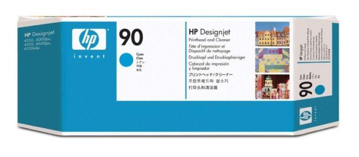 HP 90 Cyan DesignJet Printhead and Printhead Cleaner