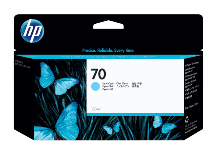 HP 70 130-ml Light Cyan DesignJet Ink Cartridge