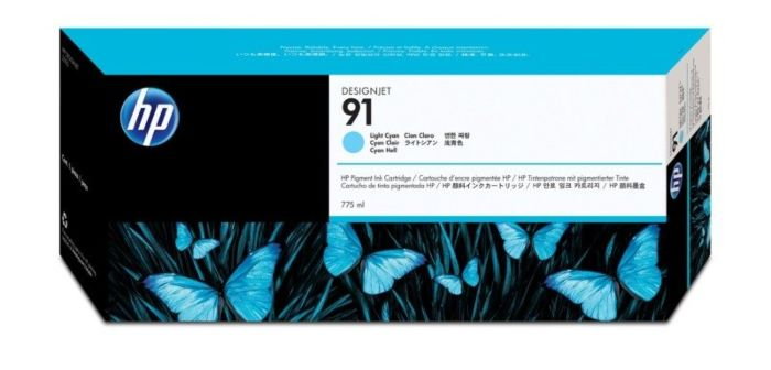 HP 91 775-ml Light Cyan DesignJet Pigment Ink Cartridge
