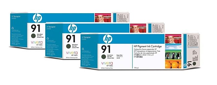 HP 91 3-pack 775-ml Matte Black DesignJet Pigment Ink Cartridges