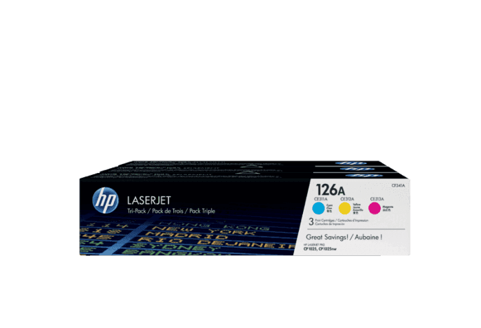 HP 126A 3-pack Cyan/Magenta/Yellow Original LaserJet Toner Cartridges
